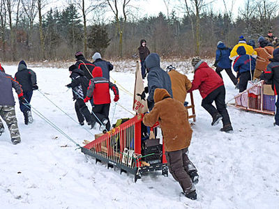 Chinook Council - Scouts Canada Boy Scouts at Camp Lakota: Sled Race